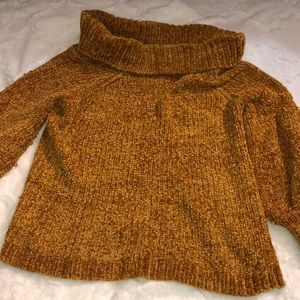Puff sleeve cow neck sweater
